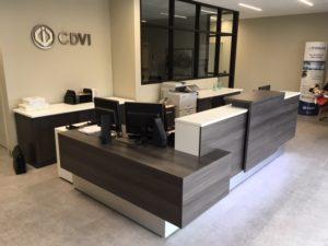 CDVI Reception Desk by AMJ Campbell (Side View)