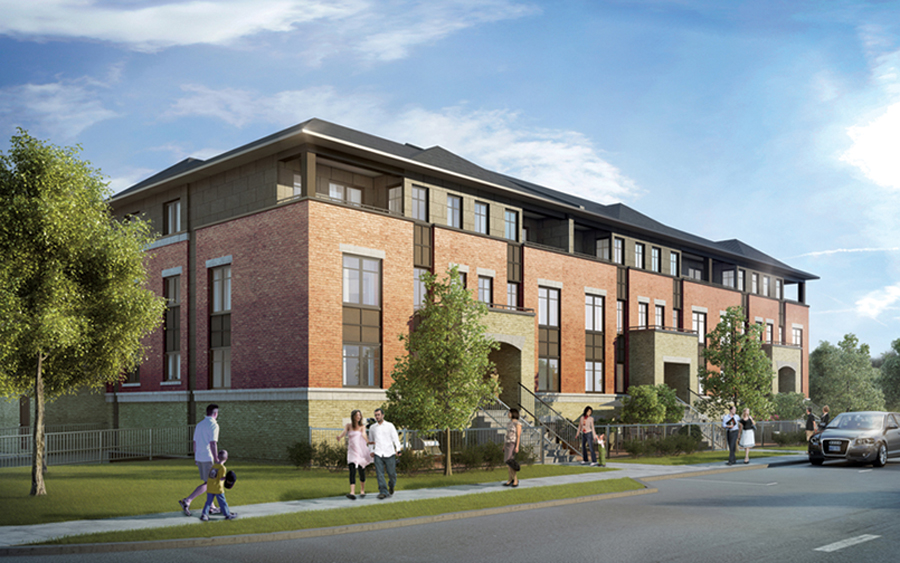 The Ampersand is a pedestrian-focused, environmentally sustainable community south of Ottawa, and is part of CMHC's EQuilibrium housing program. Courtesy Minto Communities