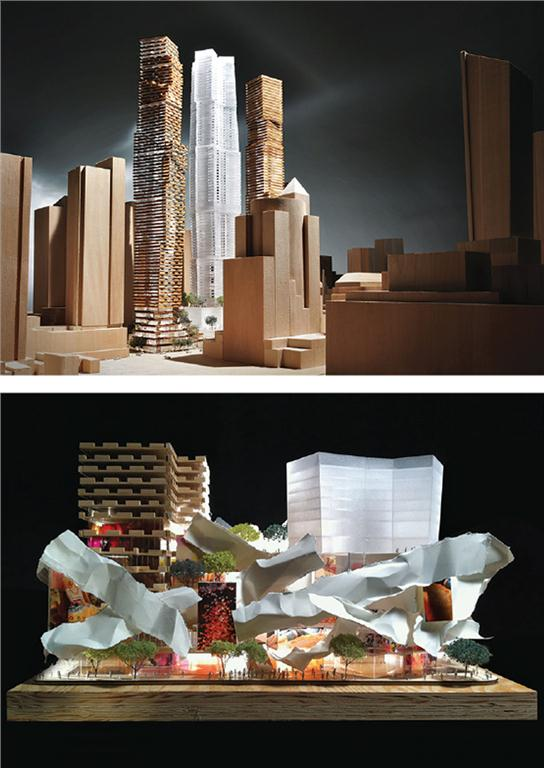 TOP: A proposed development by Frank Gehry looms 80 storeys over Toronto's King Street West. BOTTOM: A model of the podium, containing retail, OCAD facilities, and a gallery. Photos courtesy of Gehry International Inc.