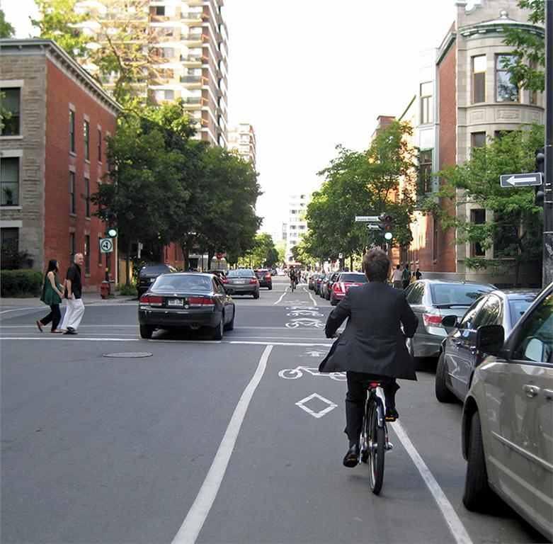 A commuter on Bixi travels along the Milton Street bike lane in the Plateau district of Montreal. The shared city bicycle program was created under former city mayor Grald Tremblay, while borough mayor Luc Ferrandez has championed the local network of designated lanes. Alanah Heffez