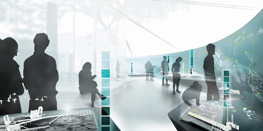 Rendering of Arctic Adaptations: Nunavut at 15, Lateral Office's planned exhibition for the 2014 Venice Biennale.