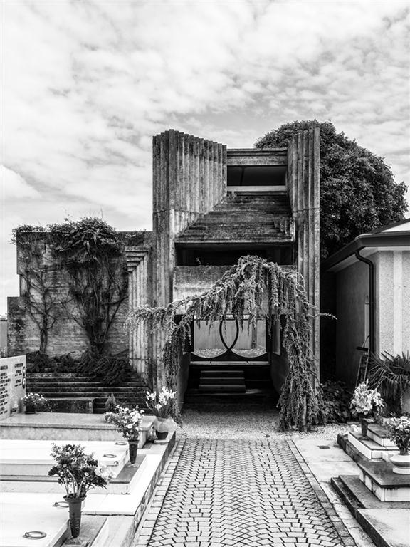 A view of the chapel at the intimate Brion-Vega cemetery by Carlo Scarpa.
