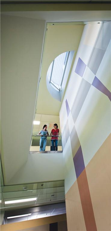 At the school's east end, a light well connects the main level and an upper level activity area.