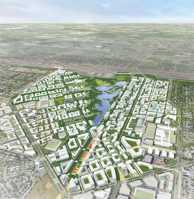 Three renderings convey the ambitious scope of the Blatchford redevlopment, developed with Group 2. The master plan re-envisions the Edmonton City Centre Airport Lands as a leading sustainable community. Perkins+Will