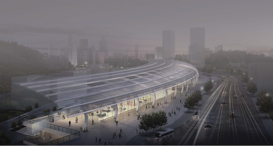 Perkins+Will partnered with T.Y. Lin Engineering to design a modern transit hub for the Chinese city of Chongquin. Perkins+Will