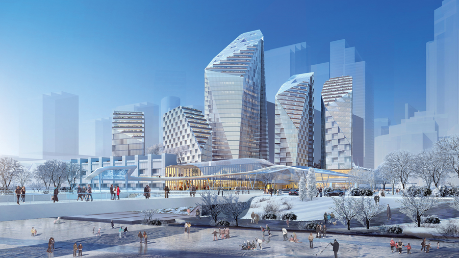Developed with the Marc Boutin Architectural Collaborative, the design for the new Eau Claire Market district in downtown Calgary optimizes residents' views to the Bow River and maximizes daylight for a public plaza and for existing buildings.  Perkins+Will