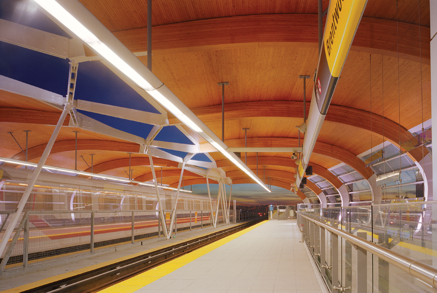 Brentwood SkyTrain Station, opened in 2002, is widely admired for its elegant use of curved wood-and-steel ribs. Nic Lehoux