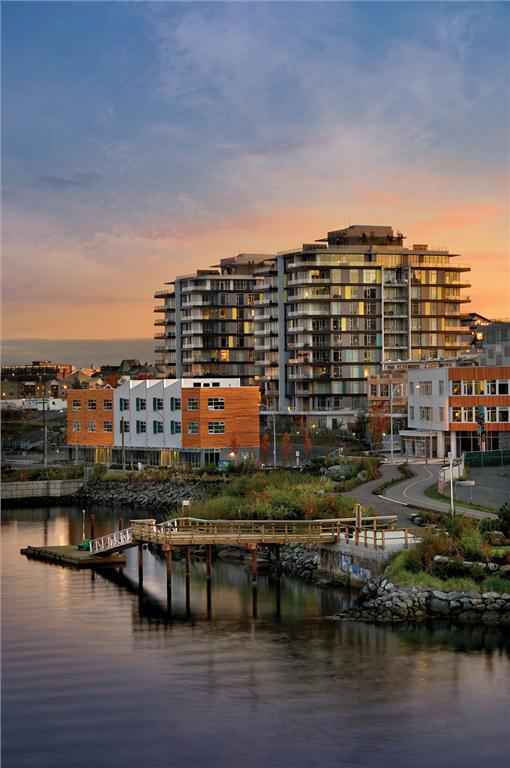 The buildings comprising Dockside Green are linked to on-site wastewater treatment and a district energy system fuelled by locally sourced wood waste. Vince Klassen