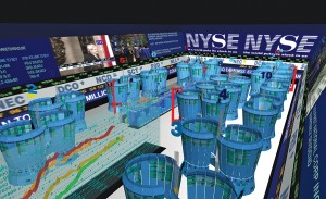 Asymptote's Virtual Trading Floor sought to transform the New York Stock Exchange trading floor into a real-time infographic tool.