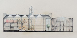 A cross-section of the 1982 Seagram Museum project, designed by Barton Myers Associates Architects.