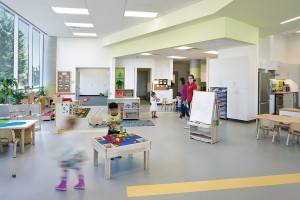 The daycare's main indoor areas are situated at ground level.