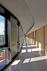 Corridors in the residetial wings include operable windows at regular intervals, allowing for cross-ventilation through each room.