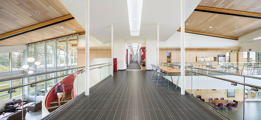 A wide corridor provides overflow study space and doubles as a panoramic venue for informal gatherings. Photo by Ed White