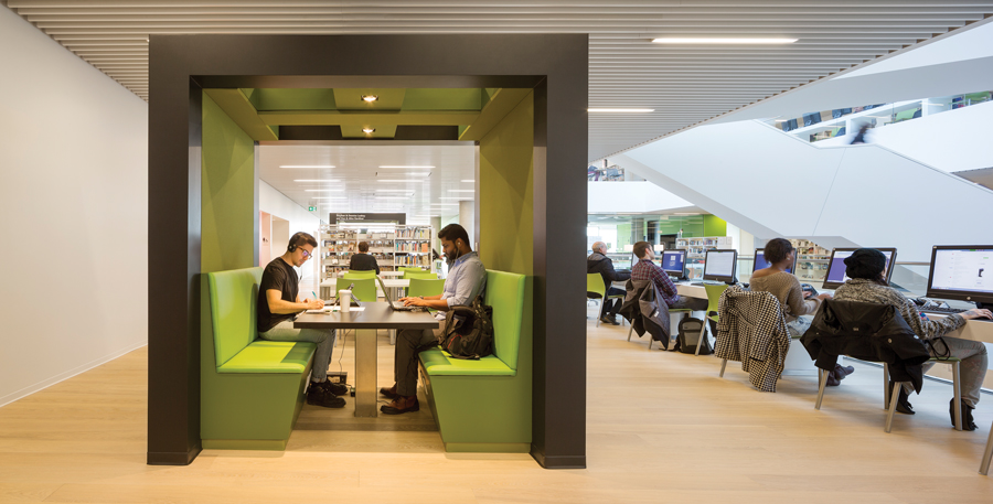 Freestanding cabins are sprinkled throughout the floorplates, providing semi-private areas for individual and group work.