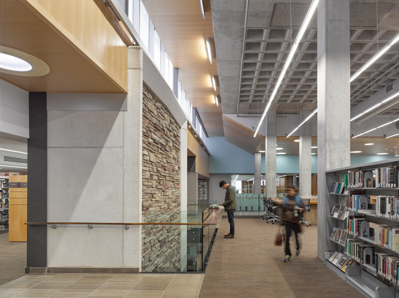 Bridges weave through the former exterior bays of the library.
