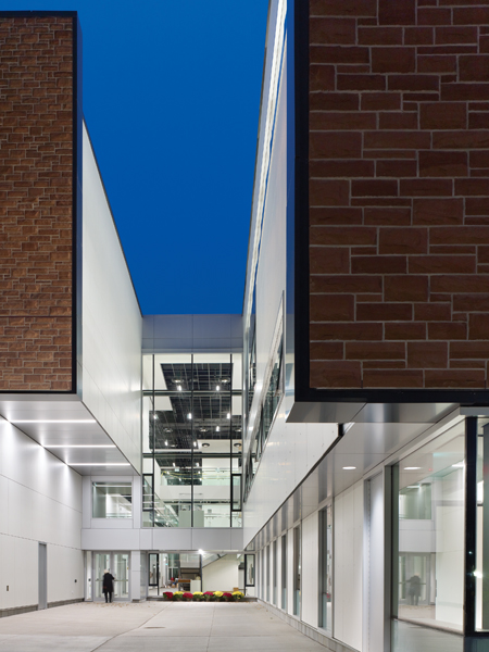 A secondary entrance to the facility doubles as a courtyard.
