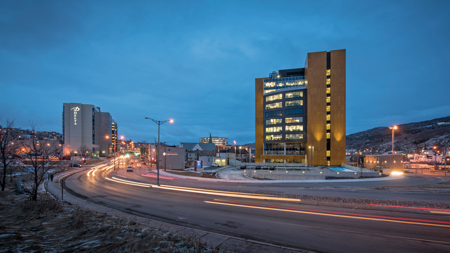 Lat49's Fortis Place is a contemporary presence in the St. John's cityscape. Photo by Chris Crockwell, Crockwell Photography