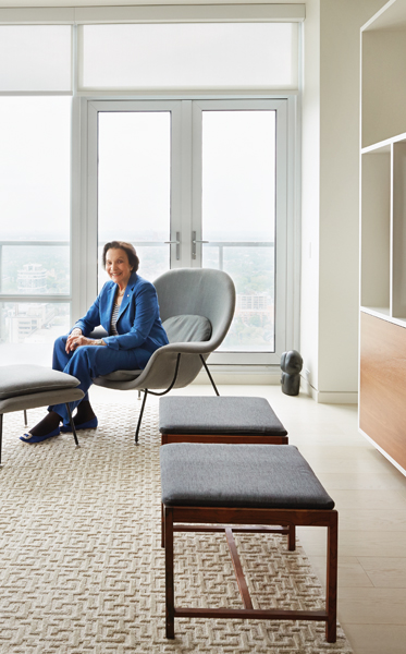 sonja bata in her penthouse apartment designed by dubbeldam architecture + design
