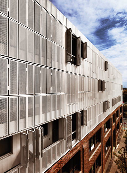 Irène innovates with perforated façade panels. Photo by Marc Cramer