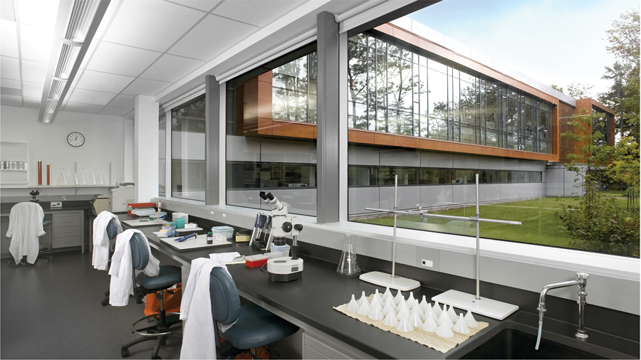 A new laboratory in Quebec's Technology Park specializes in animal pathology, and was designed with Gagnon Letellier Cyr Ricard Mathieu et associés. Photo by Guy Tessier and Christian Perreault