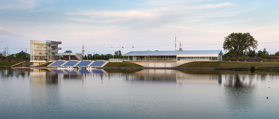Envisaged to serve the area long after the Pan/Parapan American Games, Welland's new rowing centre includes a glass-enclosed finish-line tower, outdoor viewing area, and four-seasons training facility.