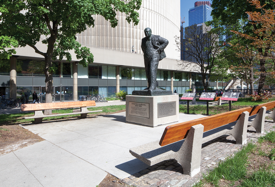 A statue of Winston Churchill was relocated from the southwest corner of the site to a sheltered northwest location.
