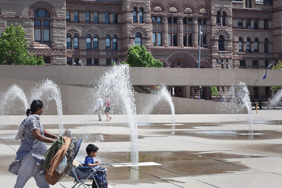 Integrated fountains add cooling relief in the summer.