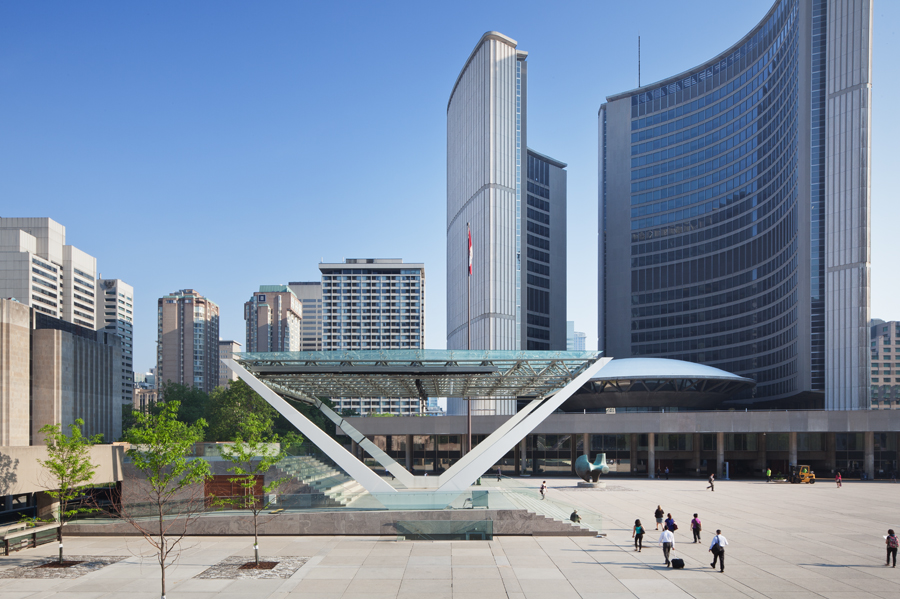 A recent renovation to Toronto's central Nathan Philips Square included extensive plaza updates and the addition of a new stage.