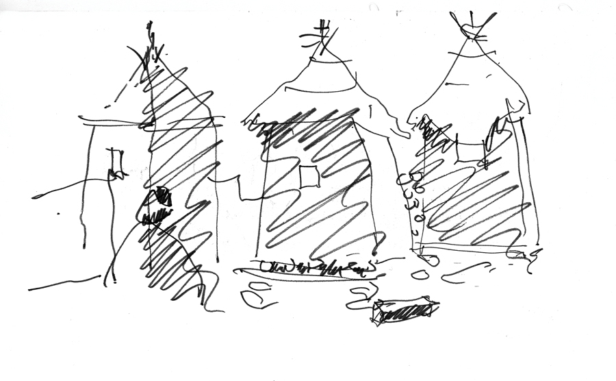 A sketch by Brian MacKay- Lyons, made in Mali on a trip with architects Rick Joy, Marlon Blackwell, Tom Kundig, Wendell Burnett and Peter Rich in search of architecture's primitive origins.