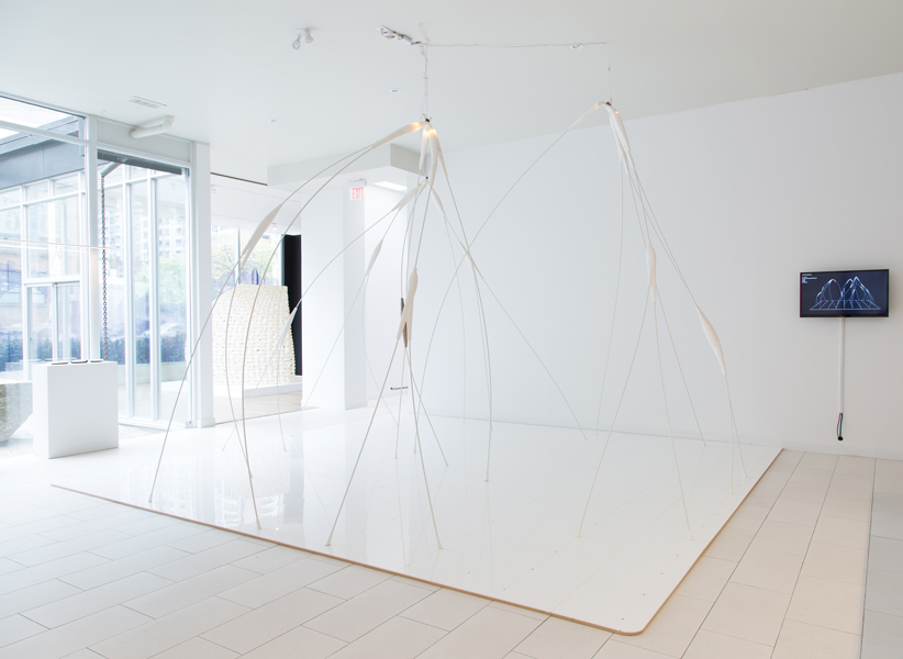 An ephemeral structure by Denegri Bessai occupies the main room in the exhibition hall.