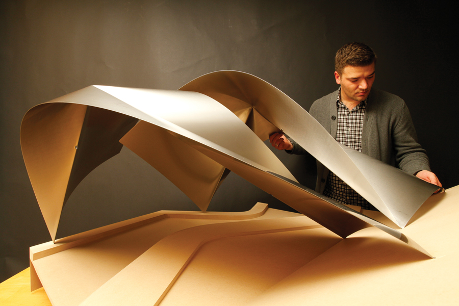 A model for a garden pavilion formed from two welded vaults. Photo by Jimmy Dow