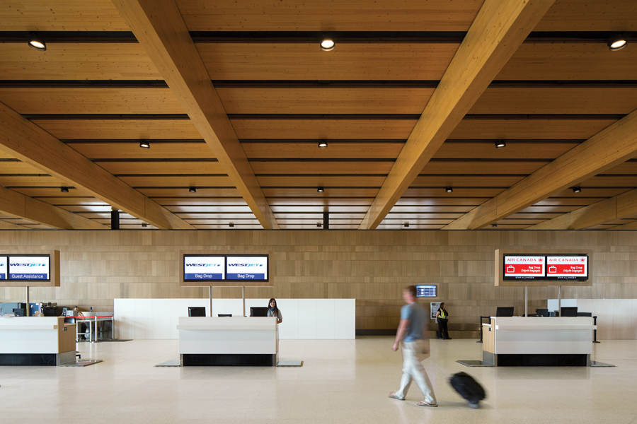 Check-in stations are installed on a raised access floor, allowing for easy reconfiguration as needs evolve.