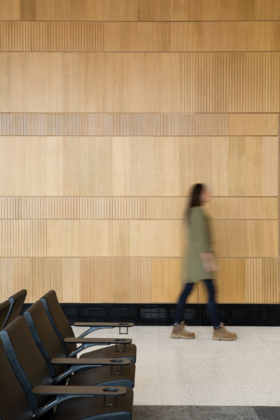 Fine vertical striations give texture to the service wall dividing landside from airside.