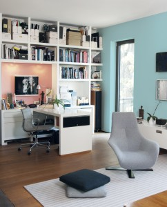 Known to stimulate the mind, encourage focus and help increase productivity, blue – such as Dulux Paints' Bear Run featured on the far wall – is a good choice for a home office.