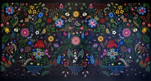 Christi Belcourt, So Much Depends Upon Who Holds the Shovel, 2008, acrylic on canvas, 125 x 248 cm. Collection of Indigenous and Northern Affairs Canada