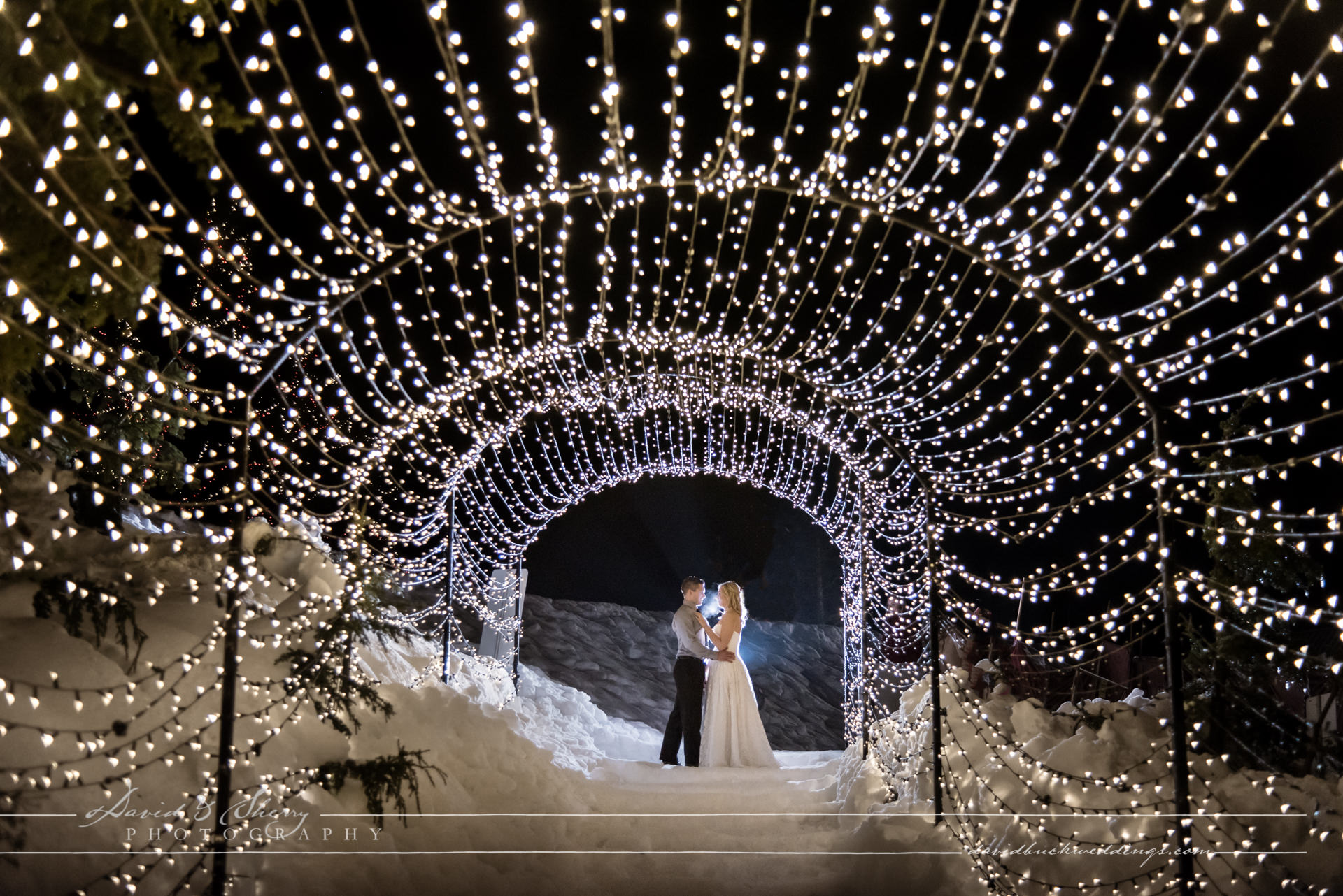 Night Time Lights At Grouse Mountain For This Luxury Wedding Photography By David Sherry