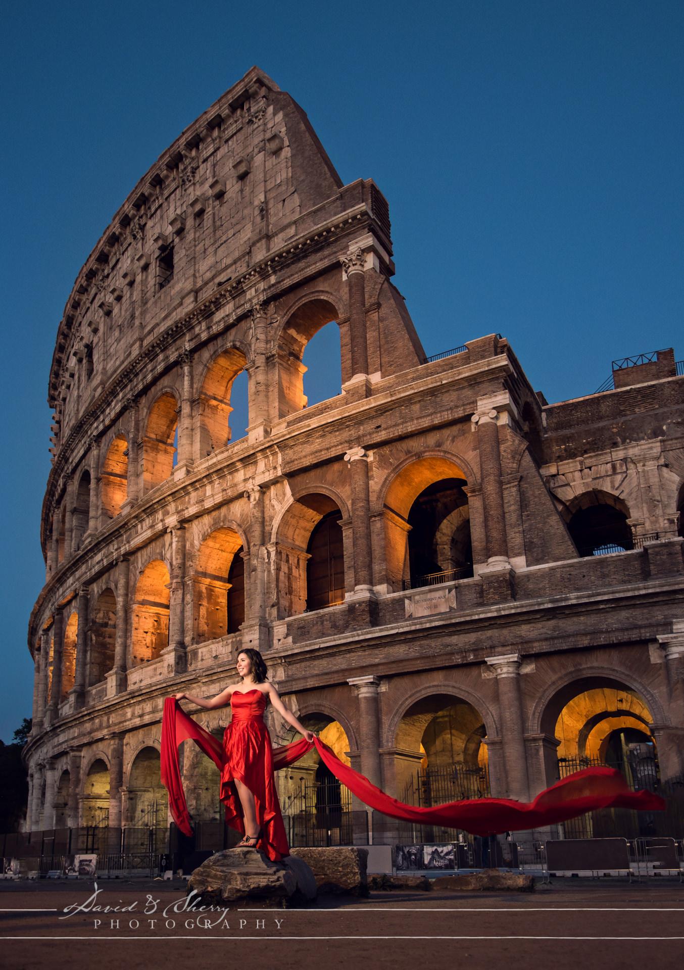 Bride at destination in Rome Italy