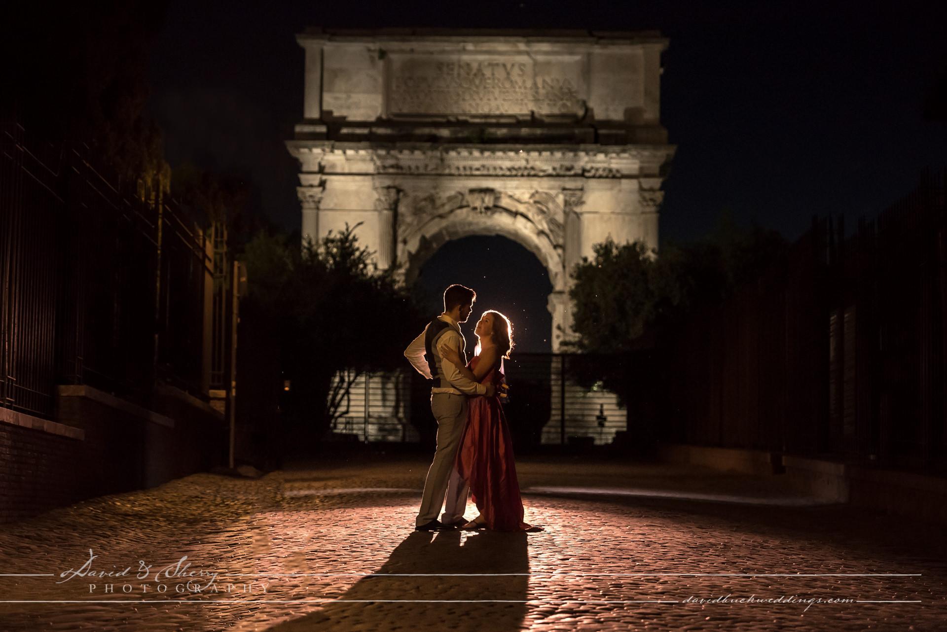 roman arch silhouette pre wedding engagement photo