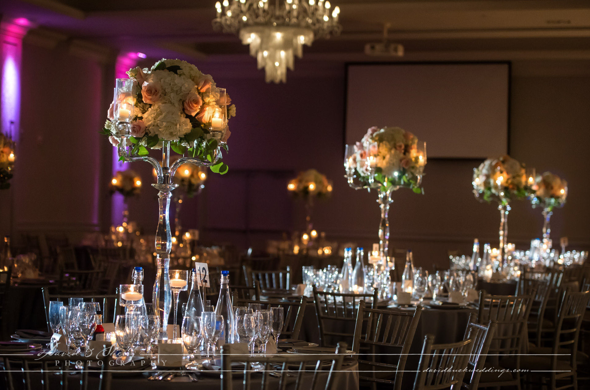 Large table centrepieces at Parkview Manor