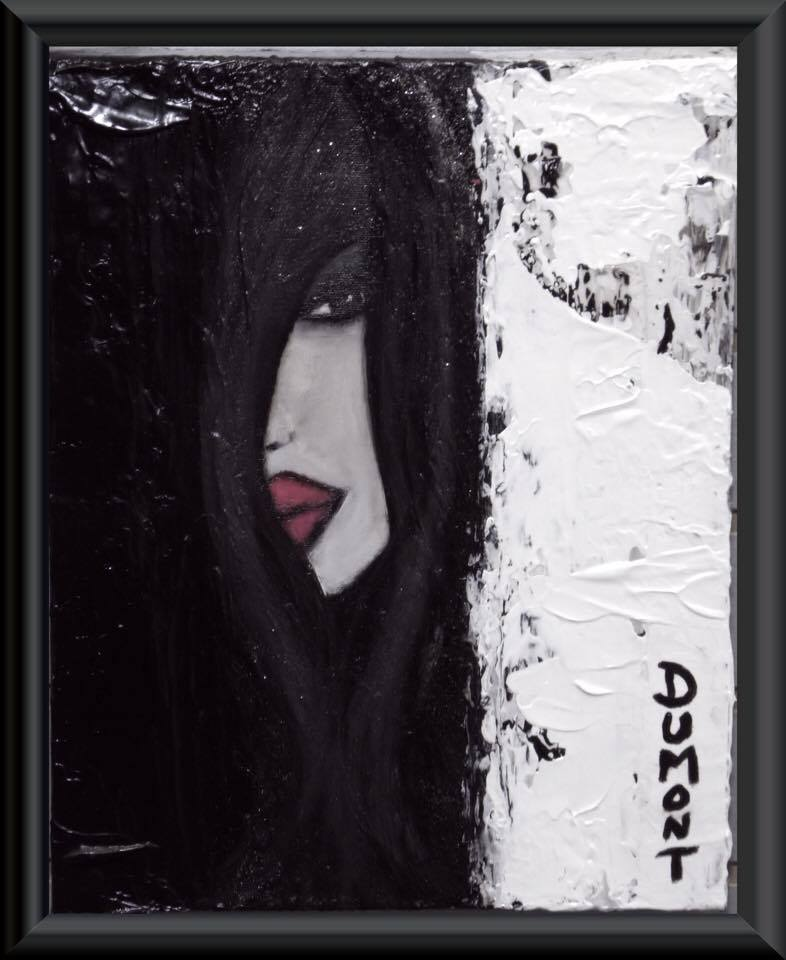 DUMONT - La Secrète, techniques mixtes sur toile, 14 x 11 pouces