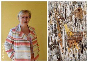 Mireille Stricker-Puaud et sa toile Dansé Coco Technique mixte et collages Photos Lise Breton