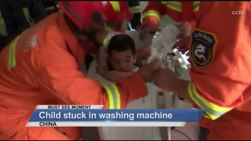 MUST SEE: Kids gets trapped in washing machine