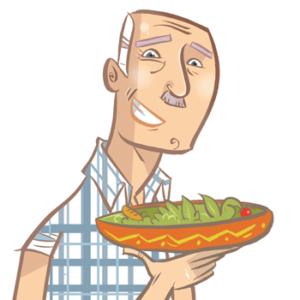 monsieur avec une salade