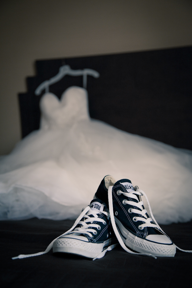 sneakers and wedding dress