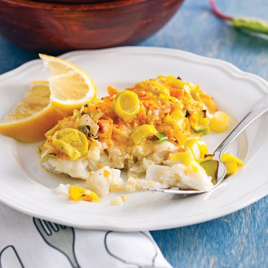 Butternut Squash and Leeks Baked Cod