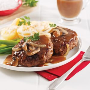 Hamburger steak aux oignons