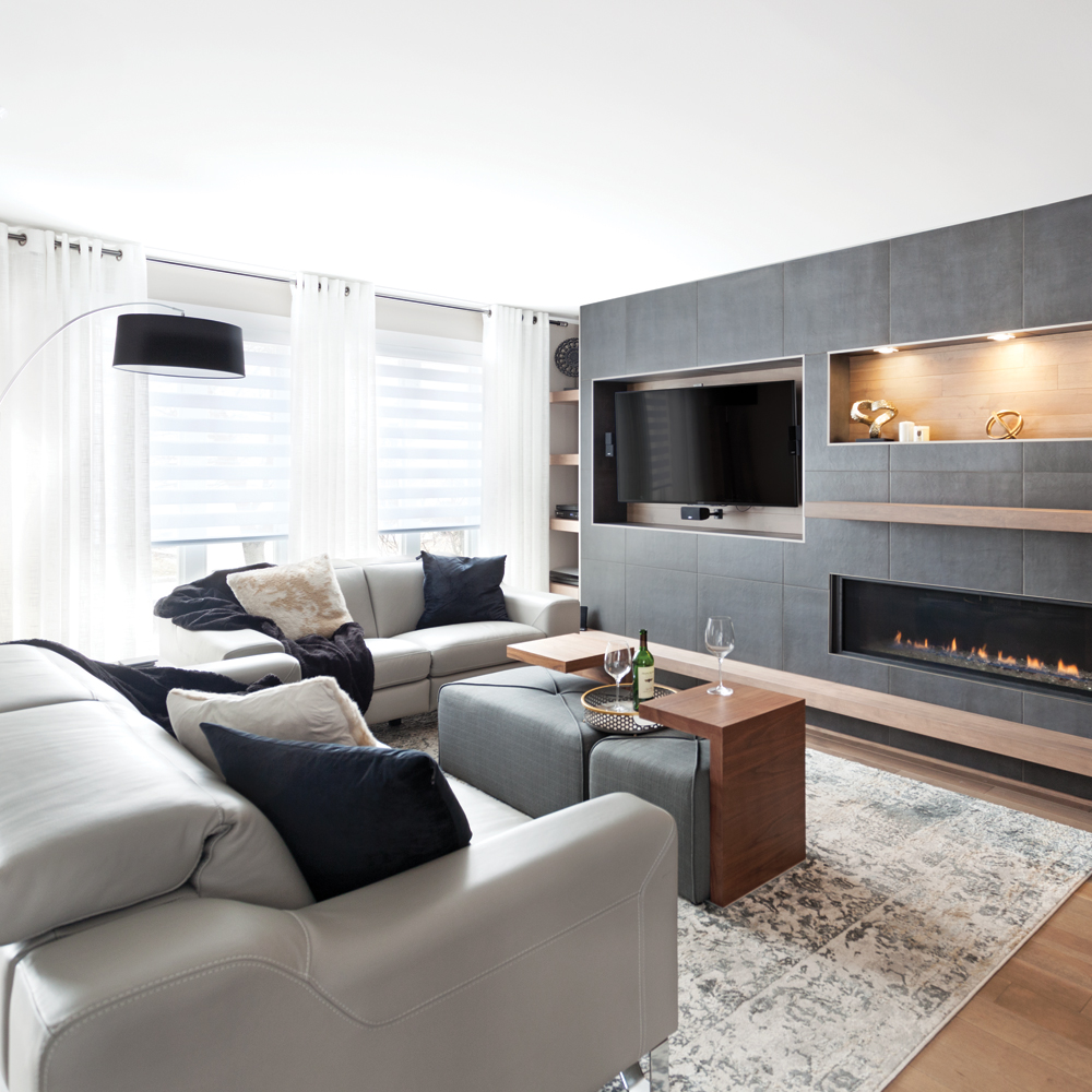 salon moderne gris cosy et bois chaud je d core. Black Bedroom Furniture Sets. Home Design Ideas