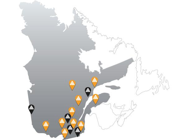 Carte du Québec - ACQ régionales