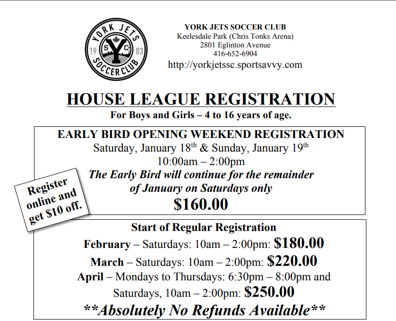 Register for the 2020 House League Season Online and Save!