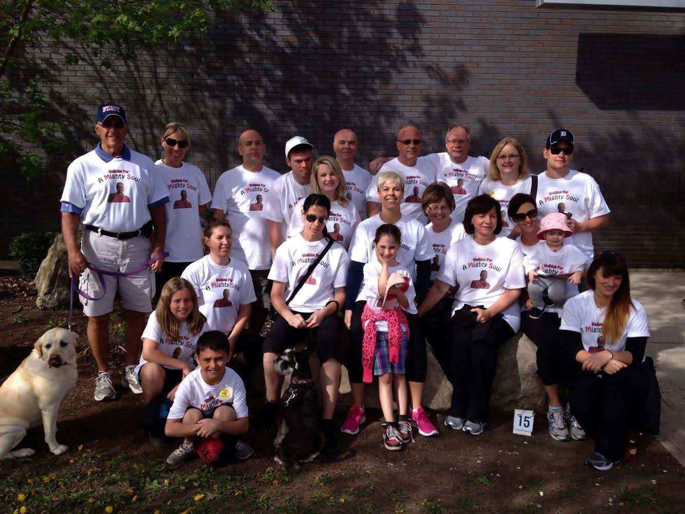 Stephanie and her family pose for a picture at the MS Walk event